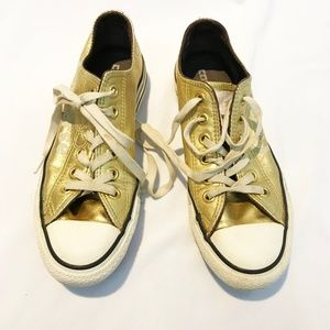 Gold Converse Running Shoes